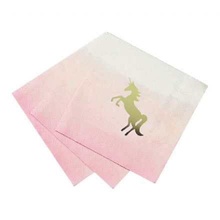 Pastel Pink Unicorn Napkins - pack of 16